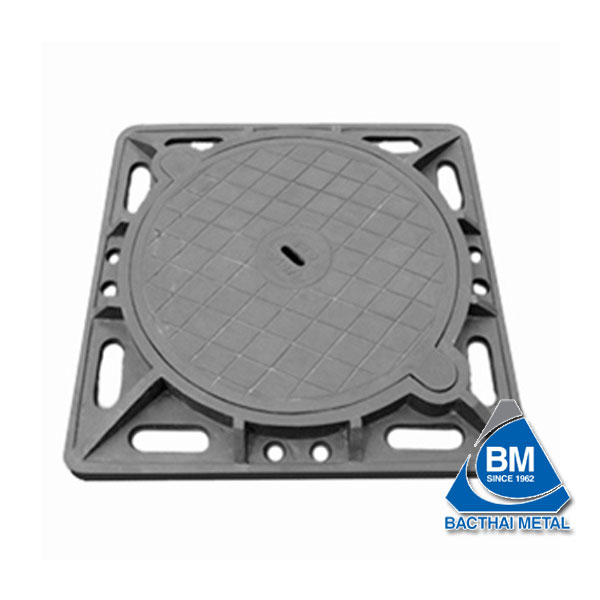 Square cast iron manhole cover (gray cast iron, ductlile cast iron)